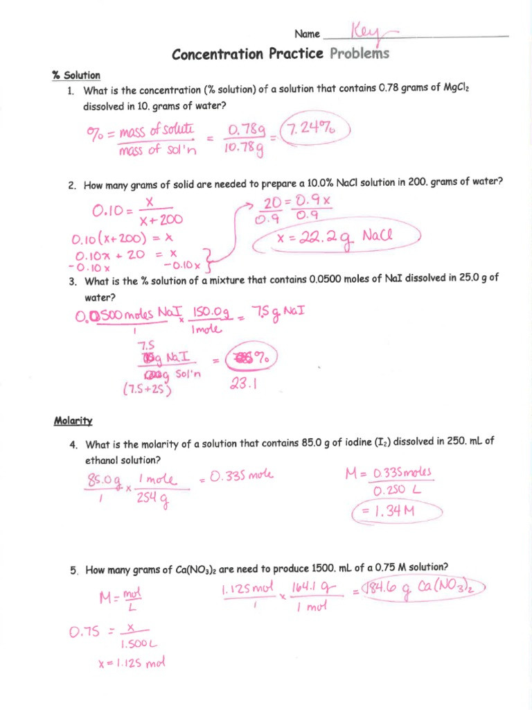 Molarity Practice Worksheet Answer Concentration Practice Worksheet Answers