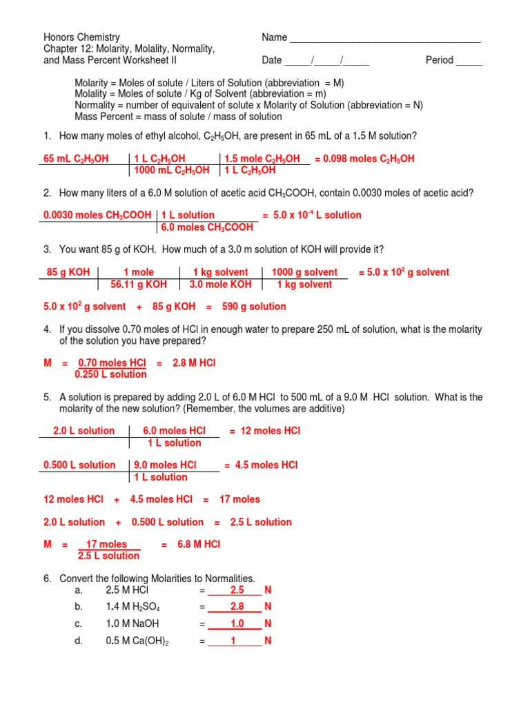 Molarity Practice Worksheet Answer Molarity Molality normality and Mass Percent Worksheet Ii