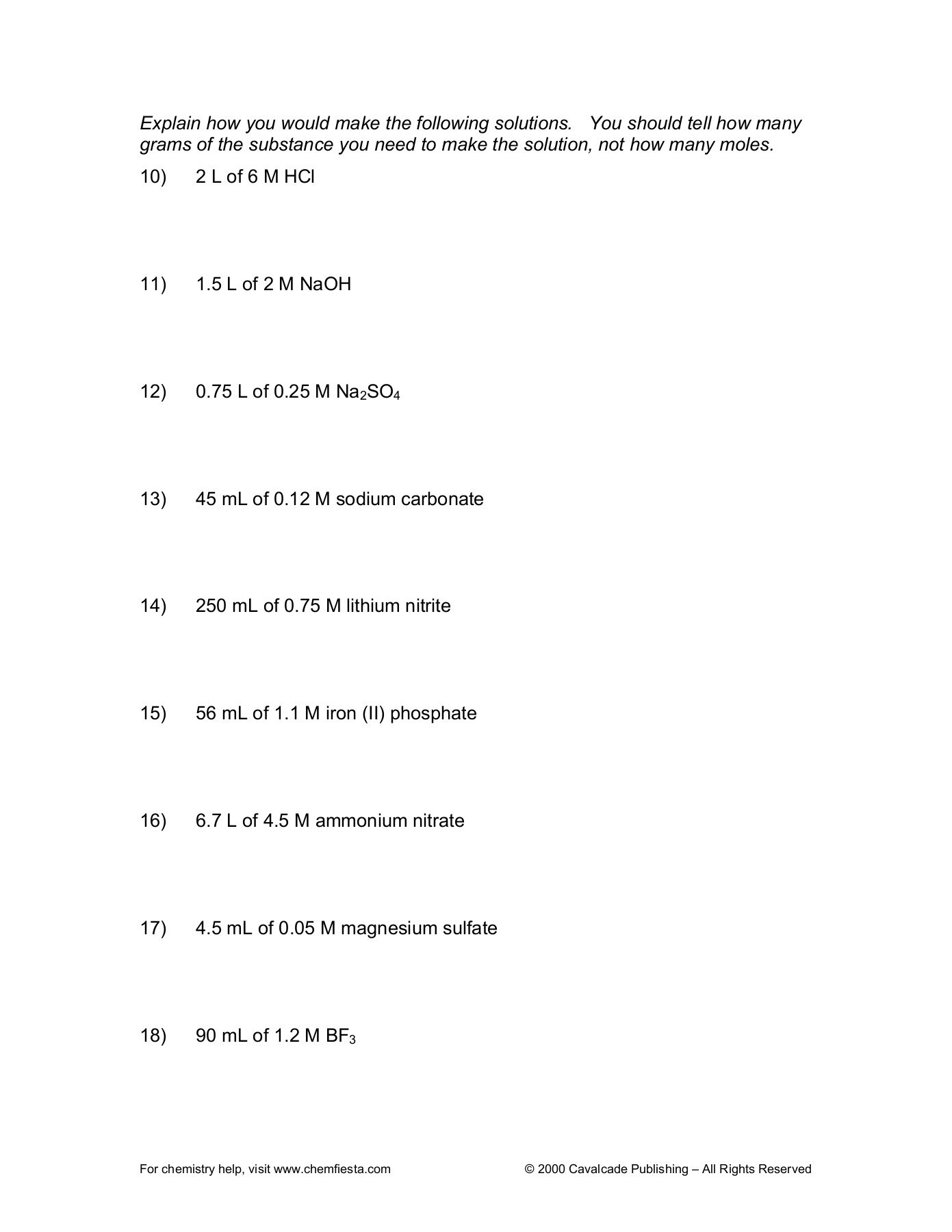 Molarity Practice Worksheet Answer Molarity Practice Worksheet Harrison High School Pages 1