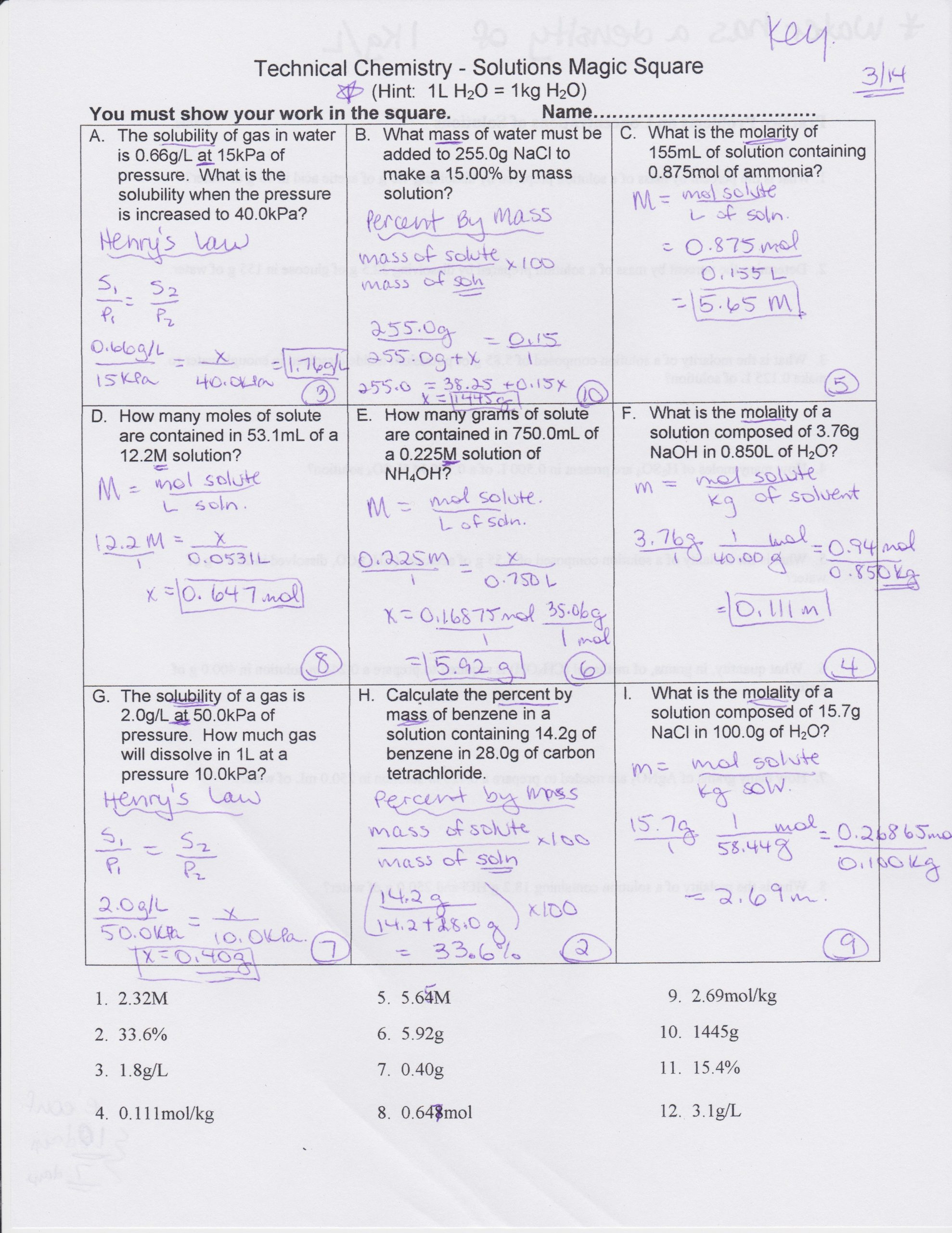 Molarity Practice Worksheet Answer Molarity Worksheet Answers Chemistry Promotiontablecovers