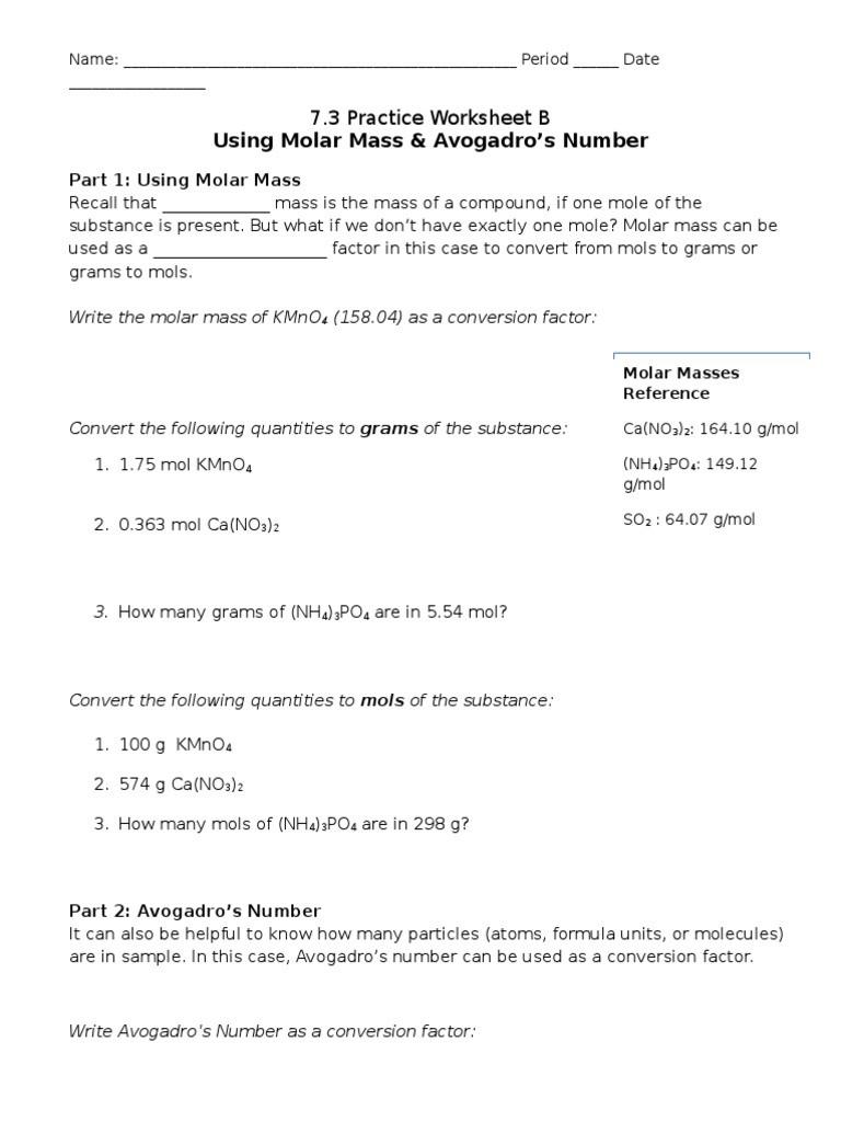 Mole Worksheet 1 7 3 Practice Worksheet B 1