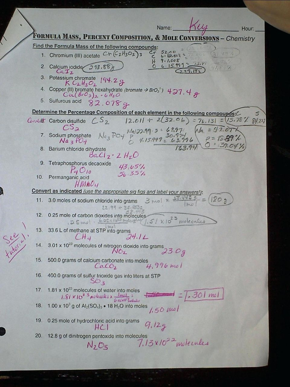 Mole Worksheet 1 Mole Mass and Particle Conversion Worksheet In 2020