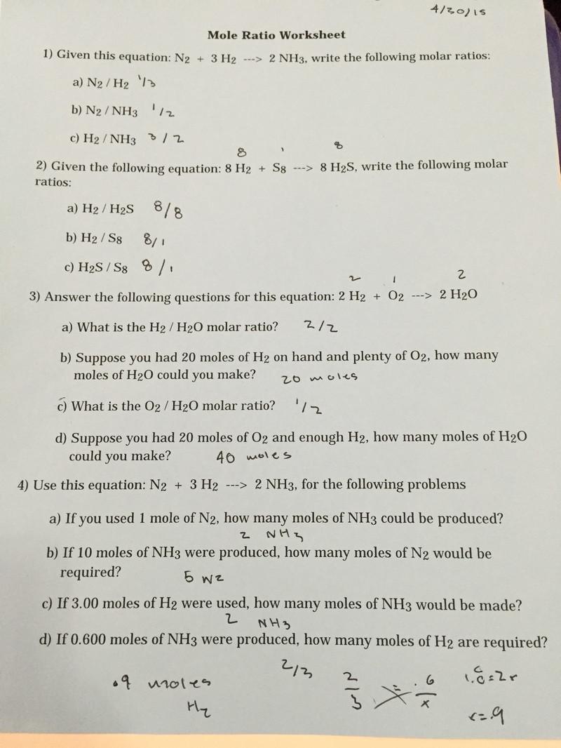 Mole Worksheet 1 Mole Ratio Worksheet Fernando Saucedo S Blog