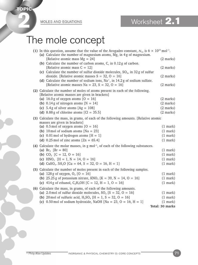 Mole Worksheet 1 Moles and Equations Worksheets 2 1 2 11 1 Ans