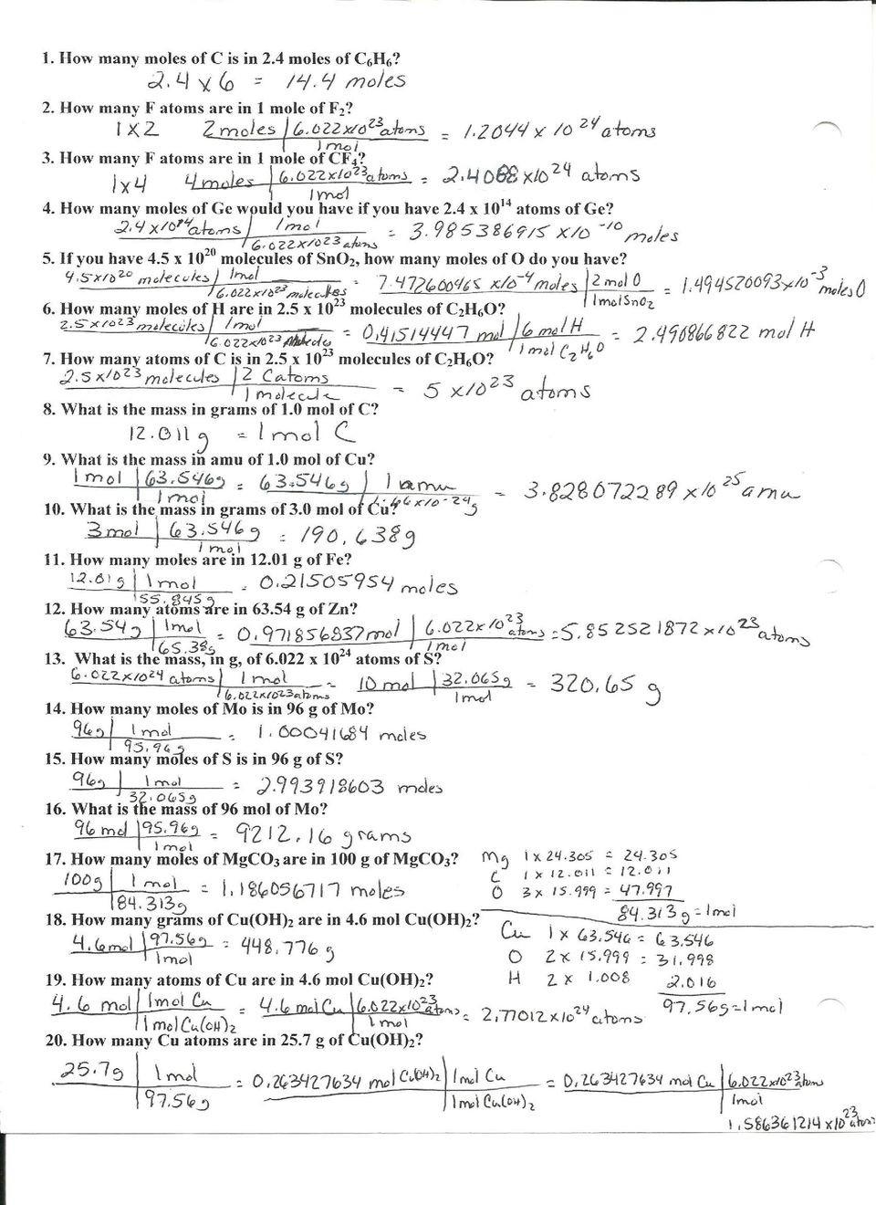 Mole Worksheet 1 Moles Molecules and Grams Worksheet Answer Key Pdf Free