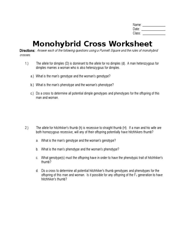 Monohybrid Crosses Worksheet Answers Monohybrid Cross Worksheet Dominance Genetics