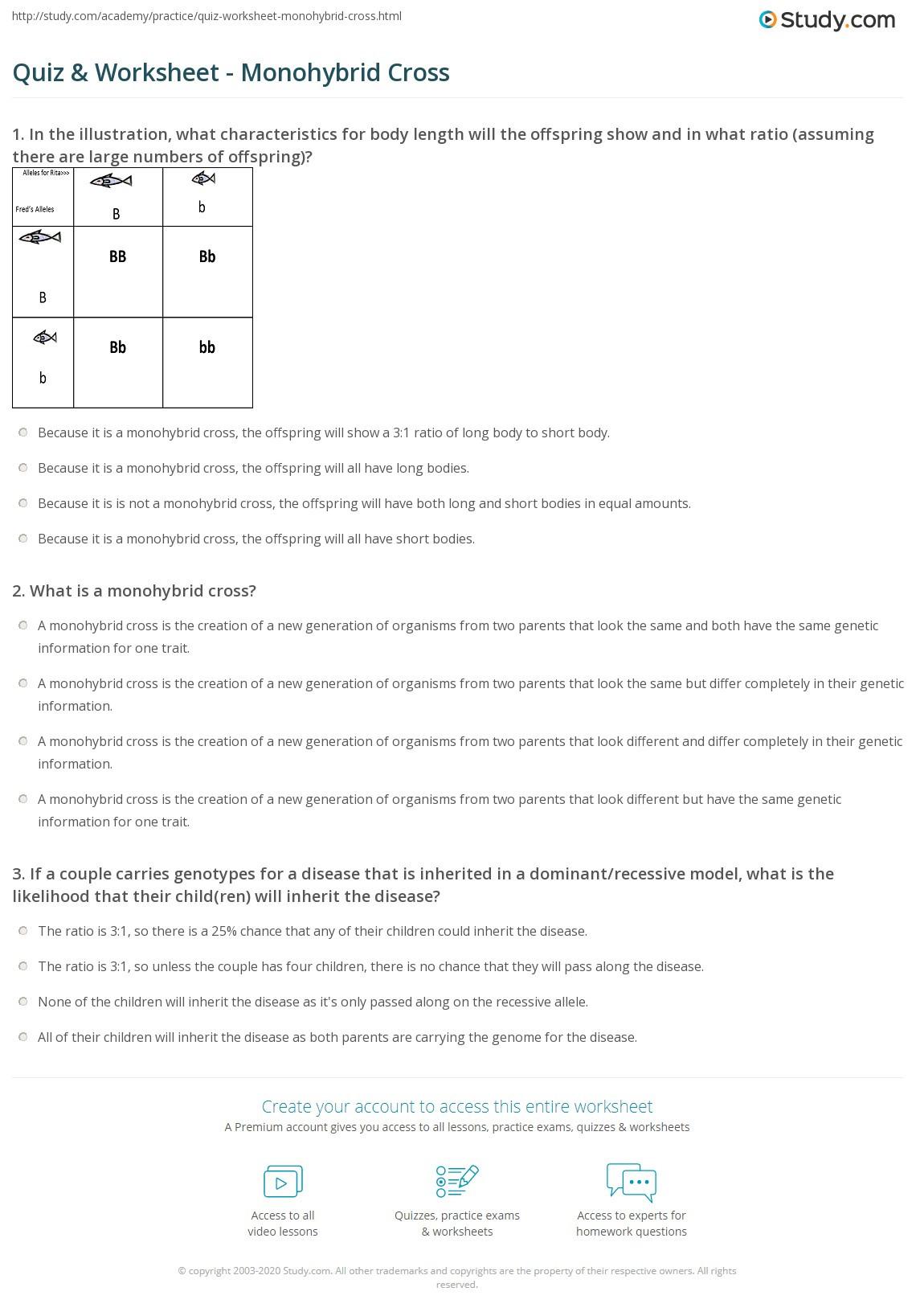 Monohybrid Crosses Worksheet Answers Quiz & Worksheet Monohybrid Cross