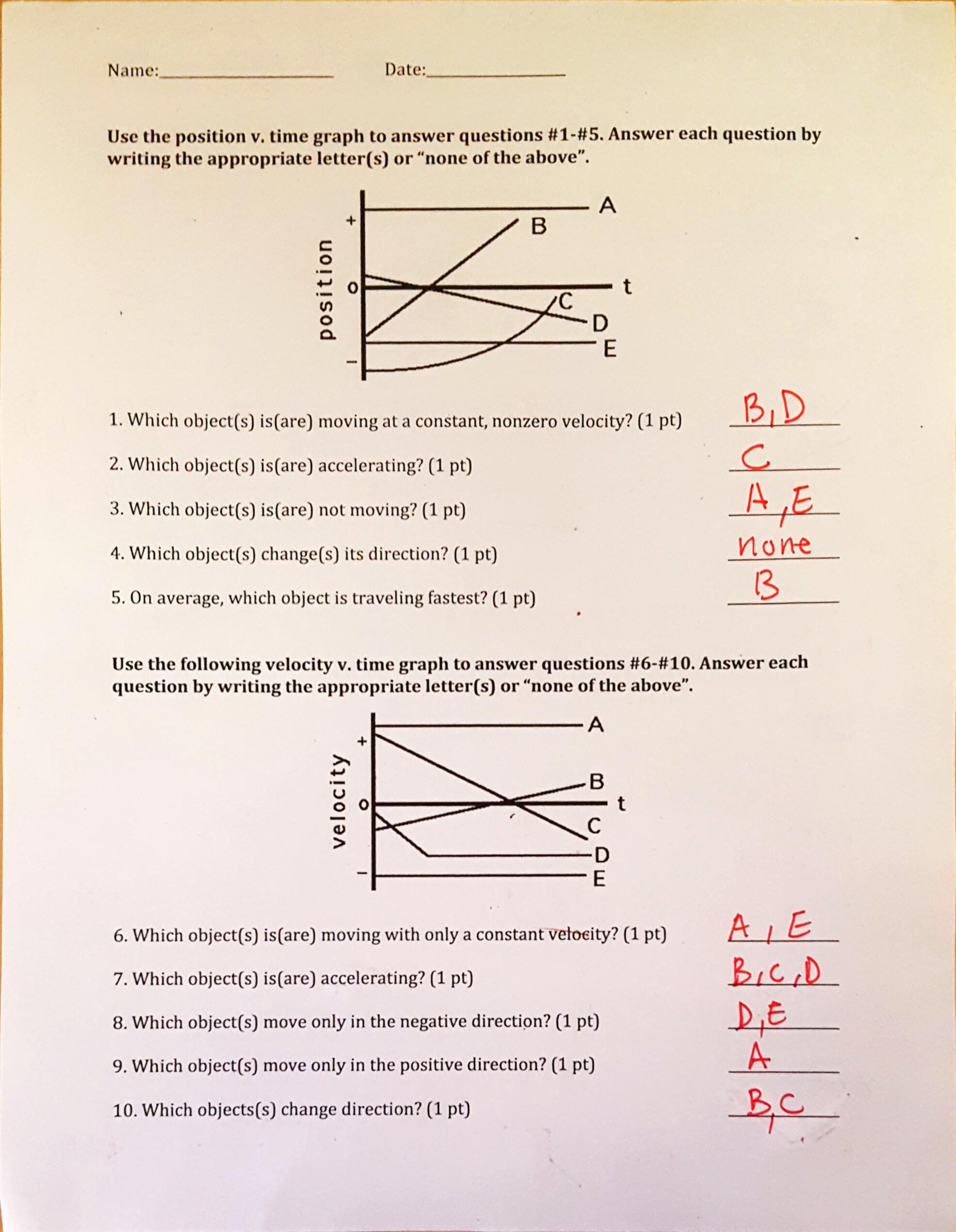Motion Graphs Worksheet Answer Key Chin Rachel Daily Items