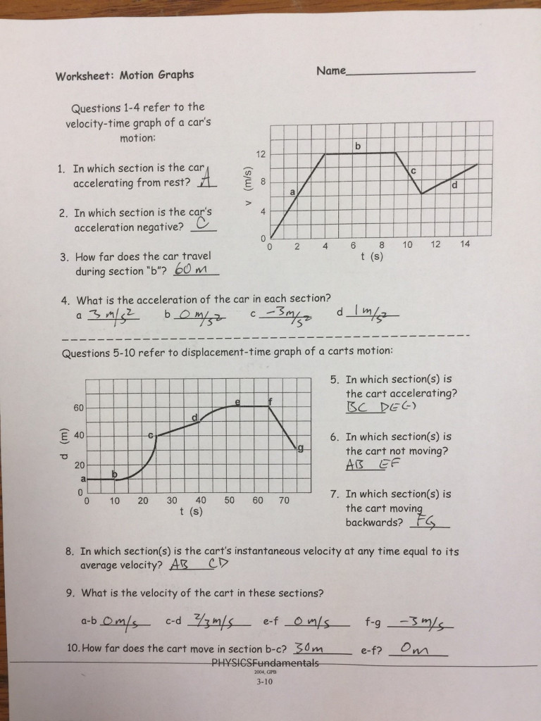 Motion Graphs Worksheet Answer Key Motion Graph Answers 1