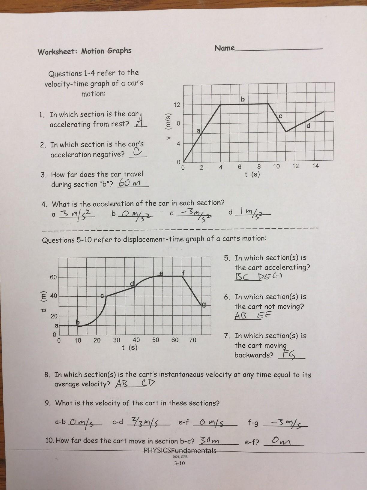 physics unit 2a linear motion answer keys