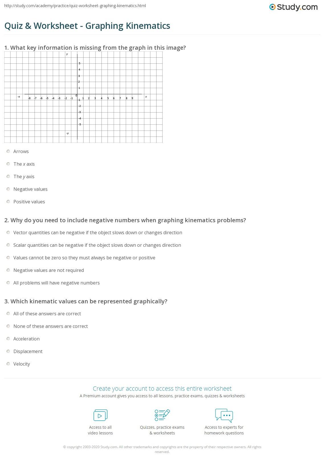 Motion Graphs Worksheet Answer Key Quiz & Worksheet Graphing Kinematics