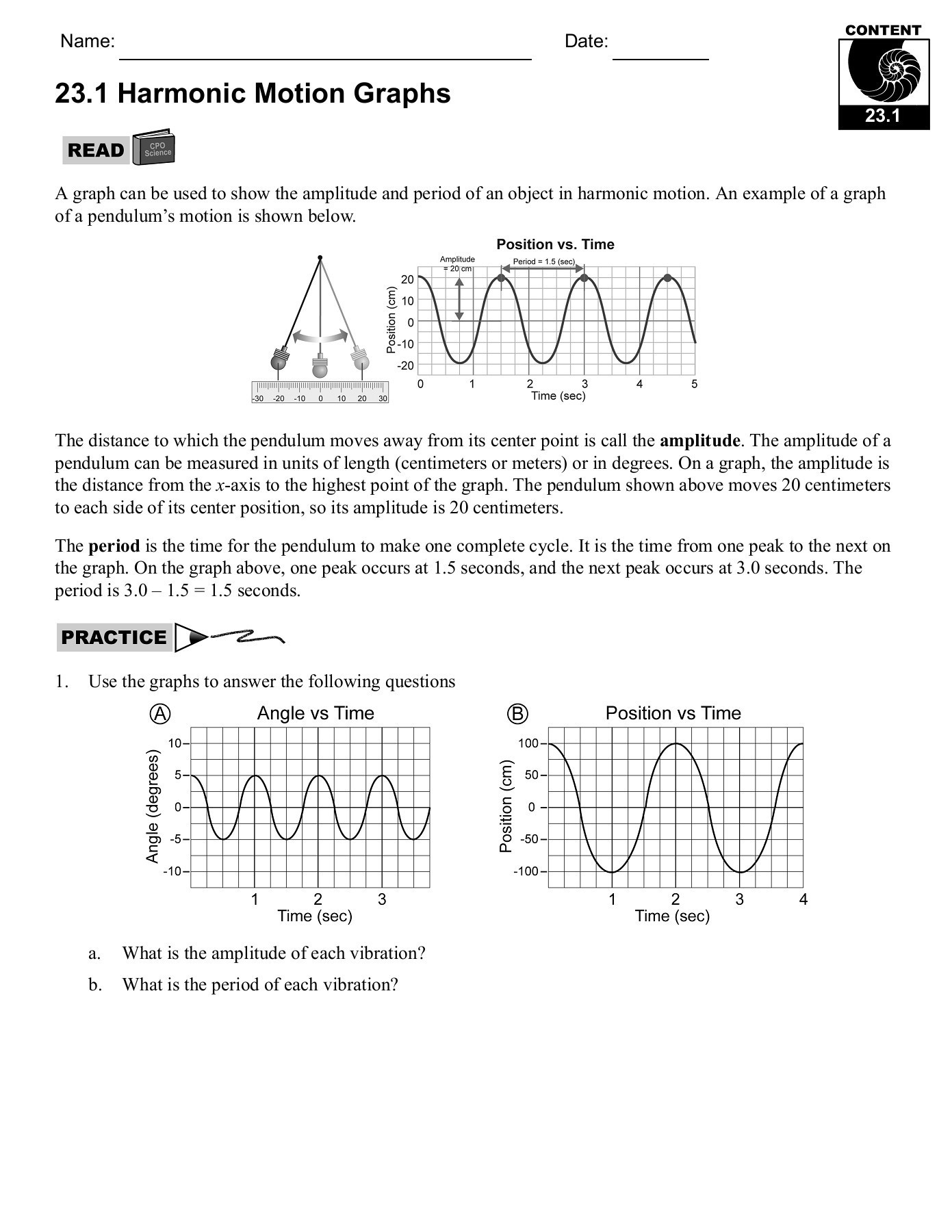 Motion Graphs Worksheet Answers 23 1 Period and Frequency Cpo Science Pages 1 31 Text