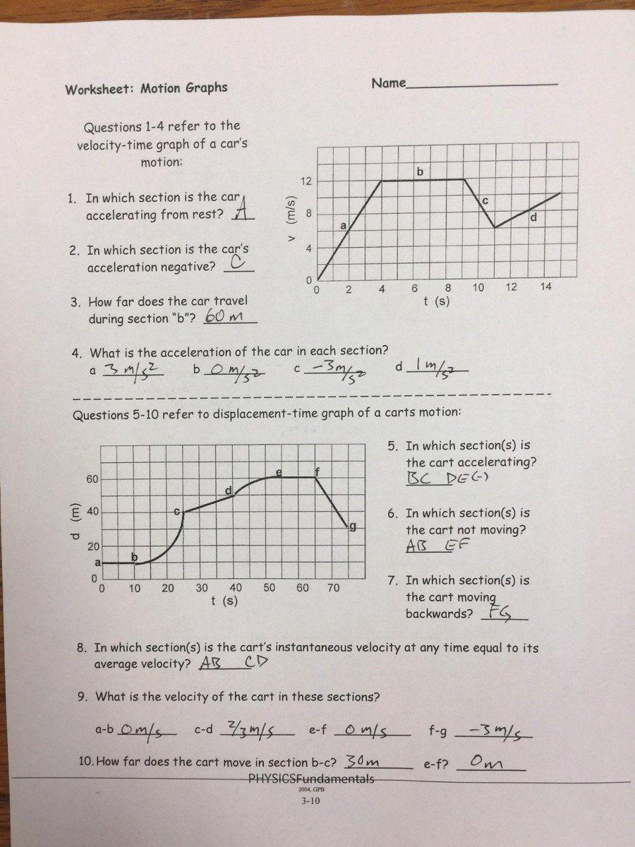 Motion Graphs Worksheet Answers 50 Motion Graph Analysis Worksheet In 2020