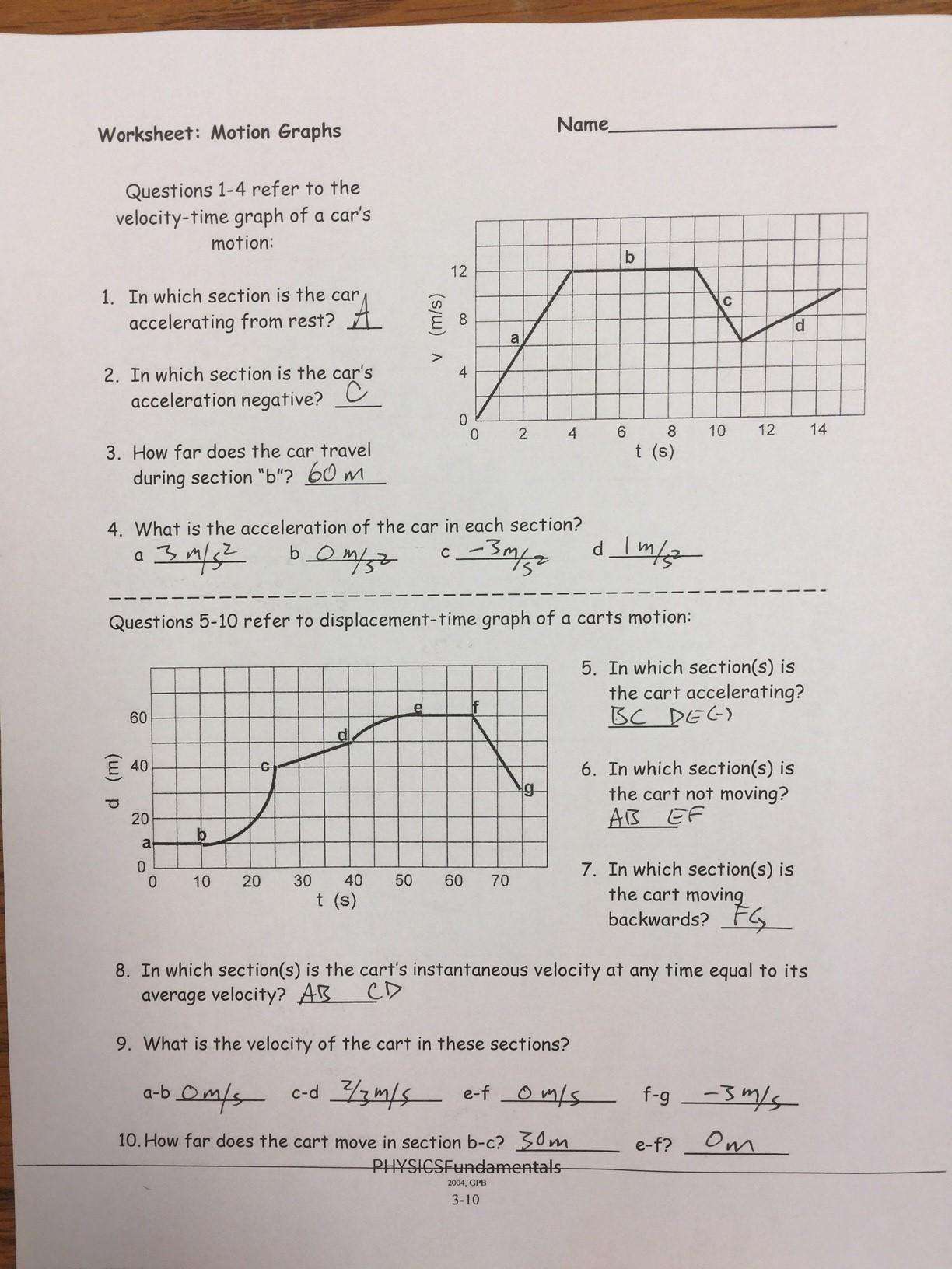 Motion Graphs Worksheet Answers Motion Graphs Worksheet