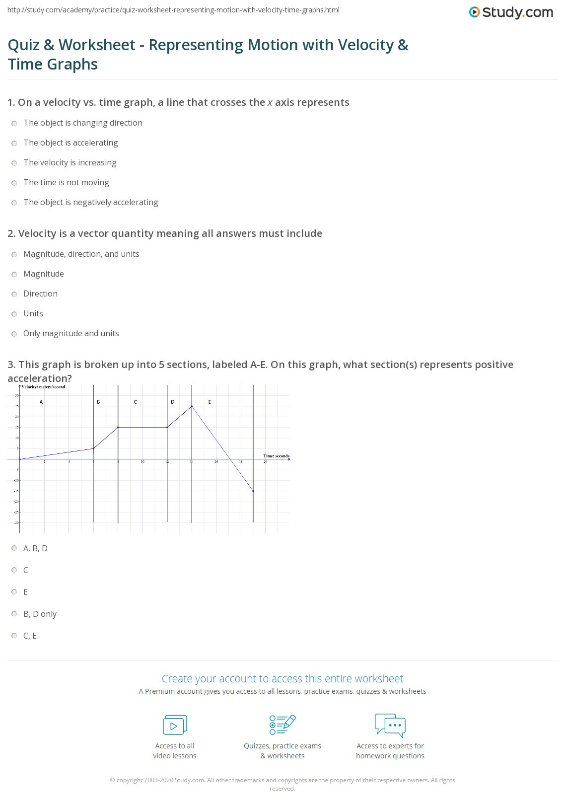 Motion Graphs Worksheet Answers Quiz & Worksheet Representing Motion with Velocity & Time