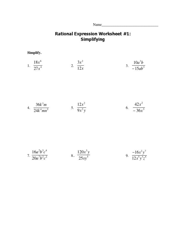 Multiplying Rational Expression Worksheet Adding Rational Expressions Packet