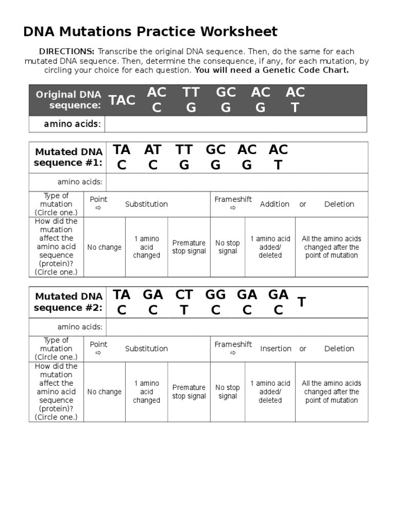 Mutations Worksheet Answer Key Dna Mutations Practice Worksheet Point Mutation