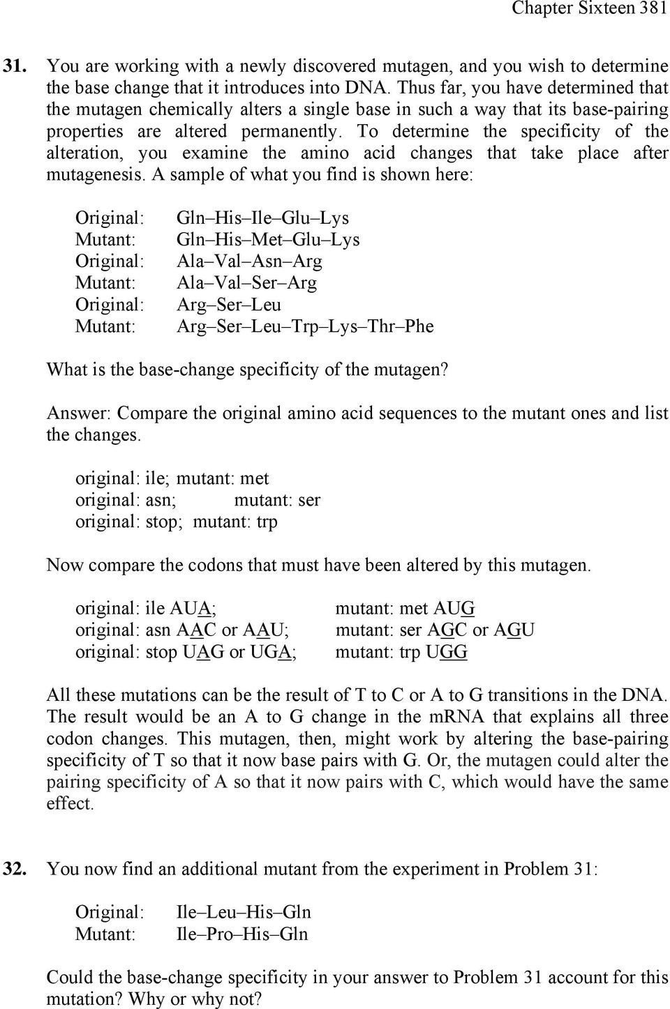 Mutations Worksheet Answer Key Mutation Repair and Re Bination Pdf Free Download