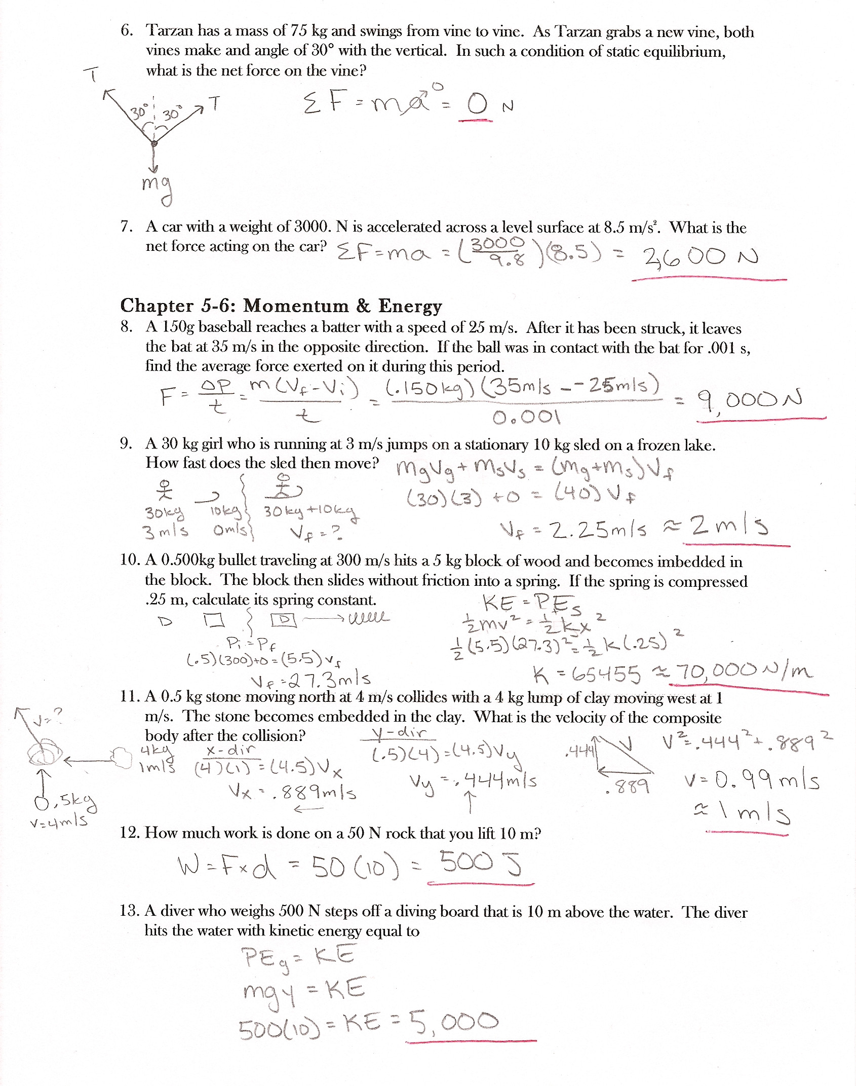 Newton039s Second Law Worksheet Answers Newtons 2nd Law Worksheet Answers Worksheet List