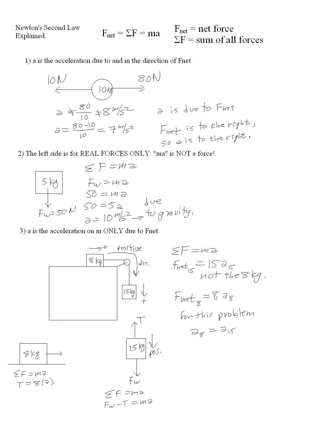 Newton039s Second Law Worksheet Newtons Laws Motion Worksheet
