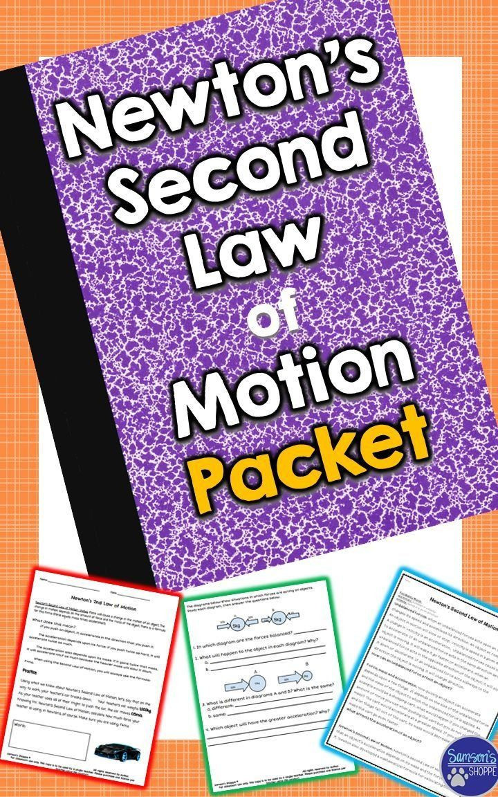 Newton039s Second Law Worksheet Pin On Physics