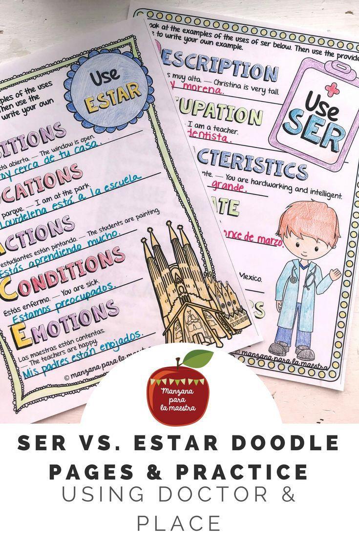 Newton039s Second Law Worksheet Ser Vs Estar Doodle Pages Spanish Grammar Notes Worksheets