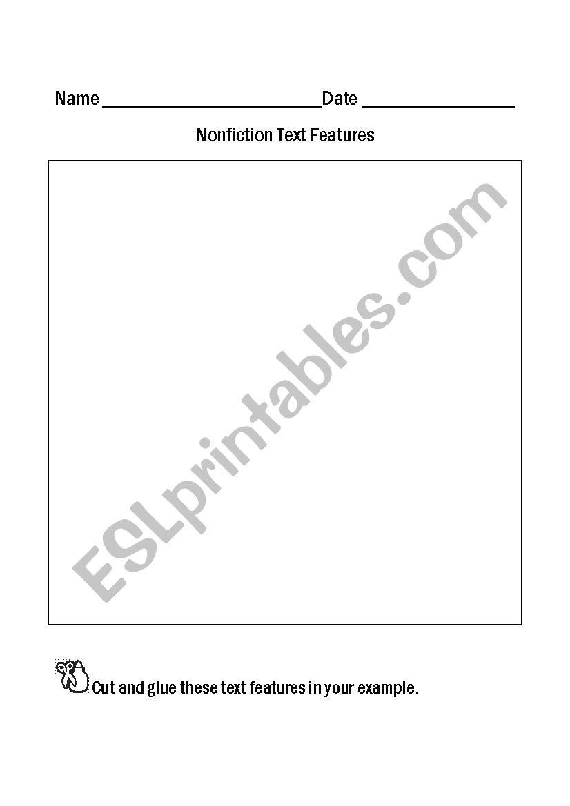 Nonfiction Text Features Worksheet Nonfiction Text Features Esl Worksheet by Achan2