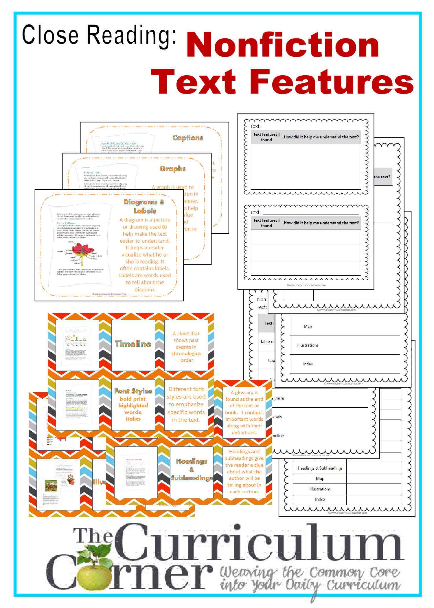 Nonfiction Text Features Worksheet Nonfiction Text Features Worksheet