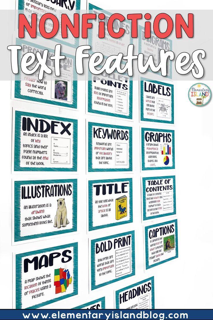 Nonfiction Text Features Worksheet Nonfiction Text Features Worksheets and Posters In 2020