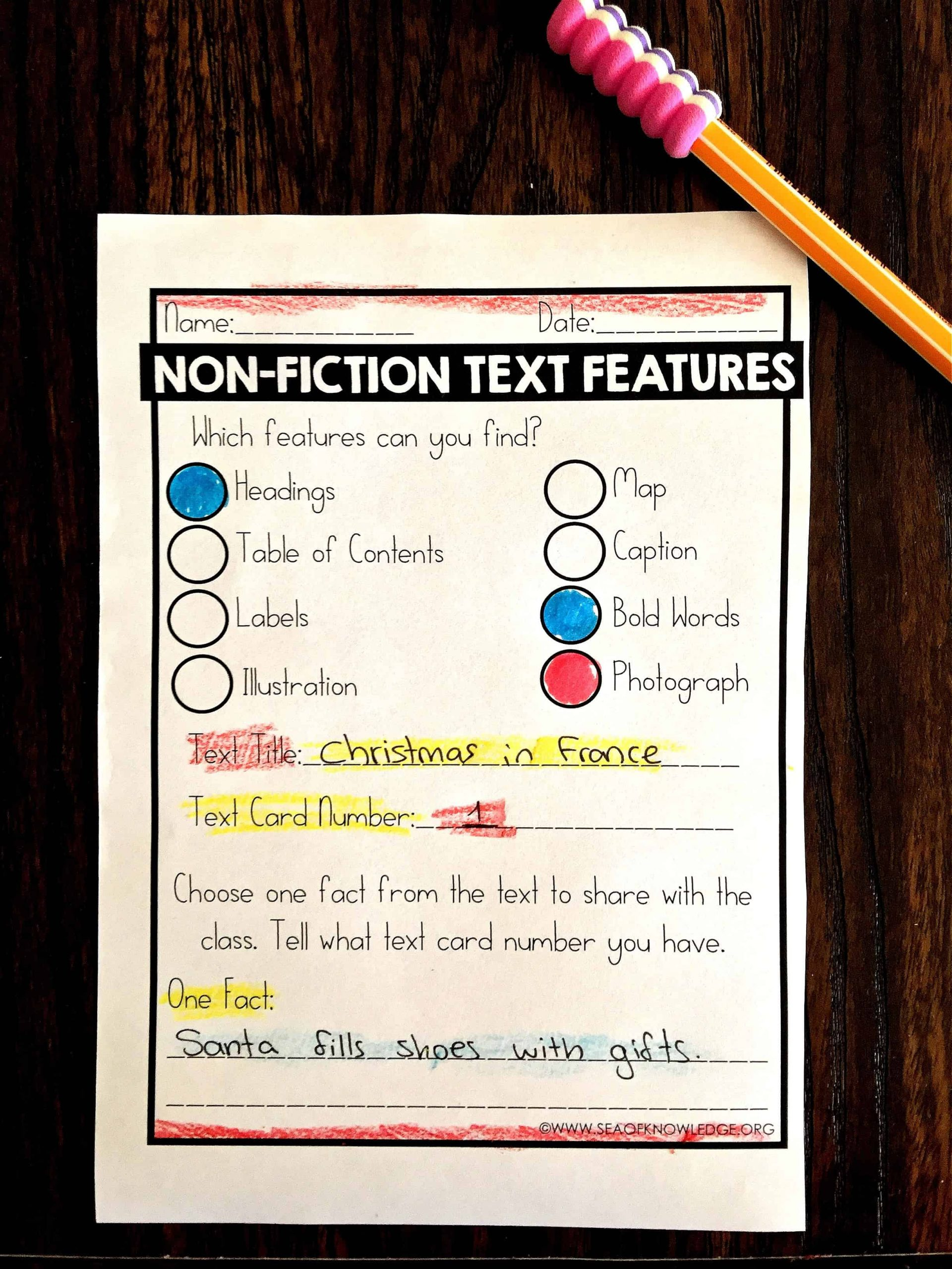 Nonfiction Text Features Worksheet Nonfiction Text Features Worksheets Free Sea Of Knowledge