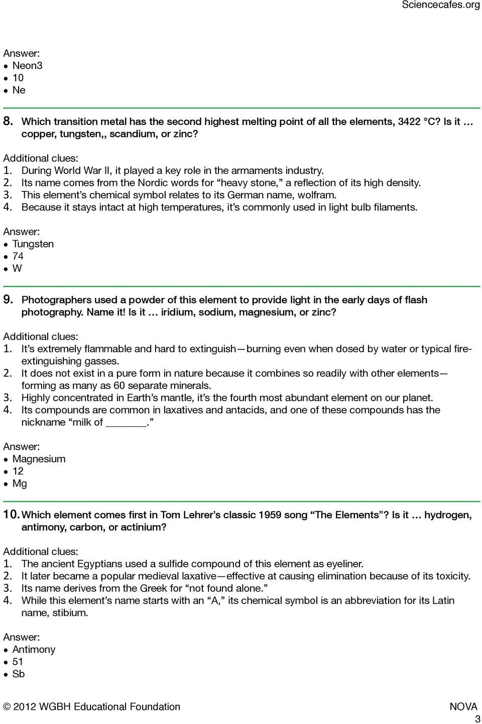 Nova Hunting the Elements Worksheet Mystery Elements and Clues Inspired From Nova S Hunting the