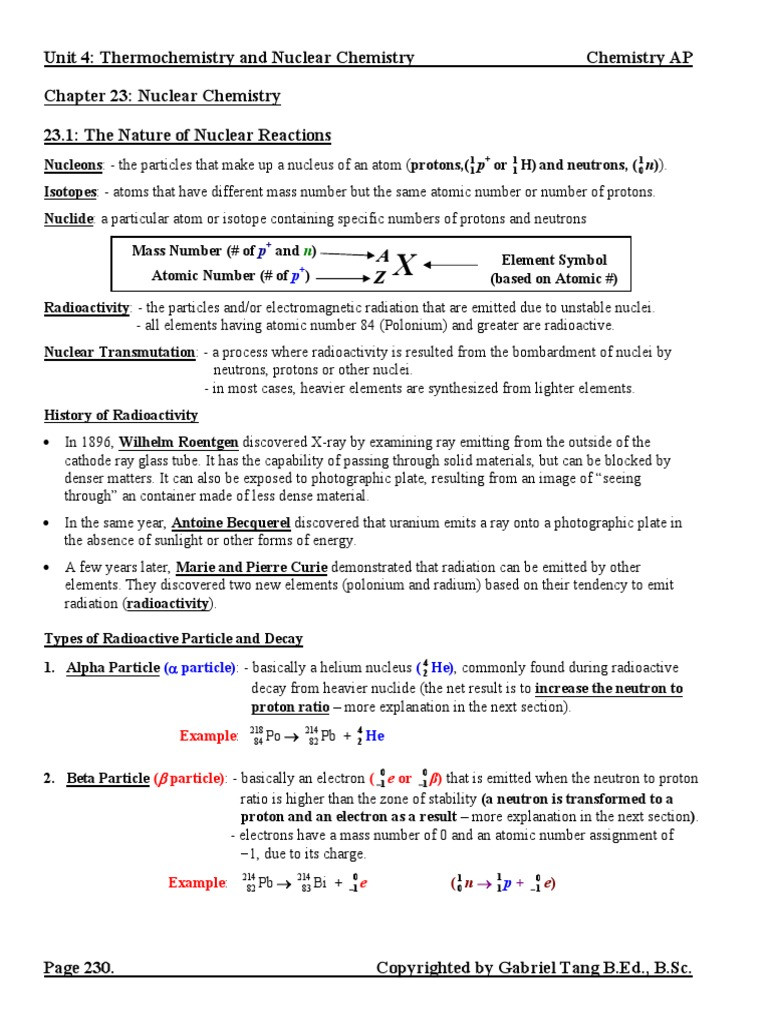 Nuclear Chemistry Worksheet Answers Chapter 23 Nuclear Chemistry Notes Answers Pdf