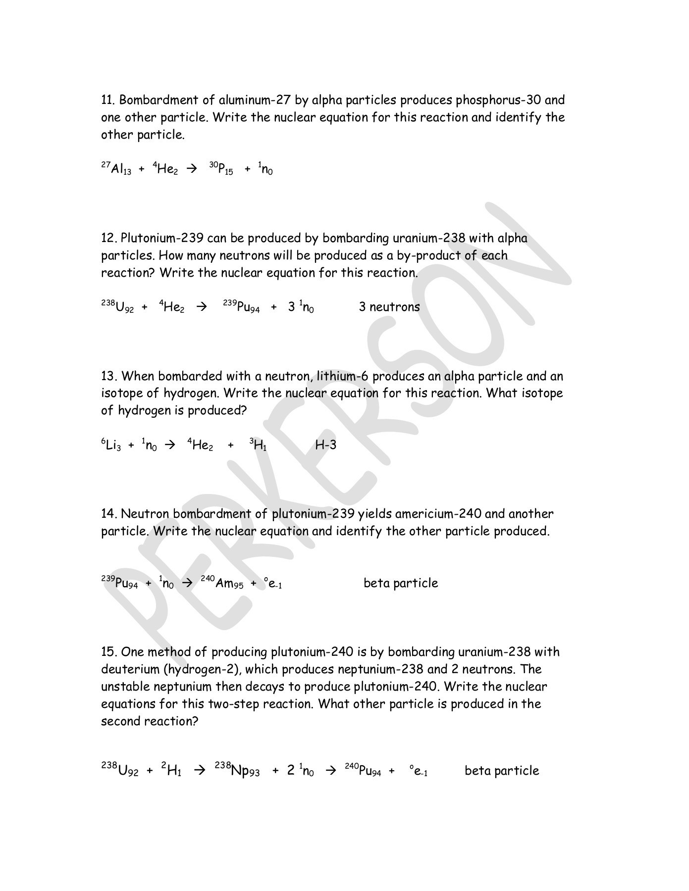 Nuclear Chemistry Worksheet Answers Nuclear Equations Worksheet Answers Typepad Pages 1 3