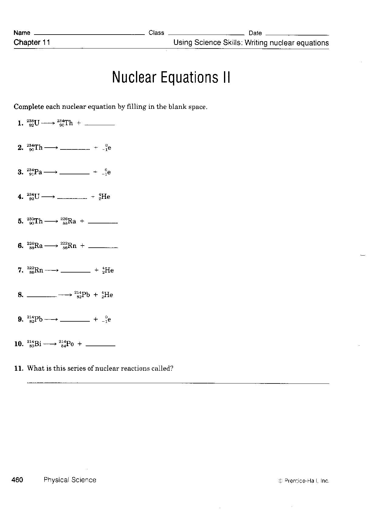 Nuclear Equations Worksheet Answers 100 [ Nuclear Fission and Fusion Worksheet ]