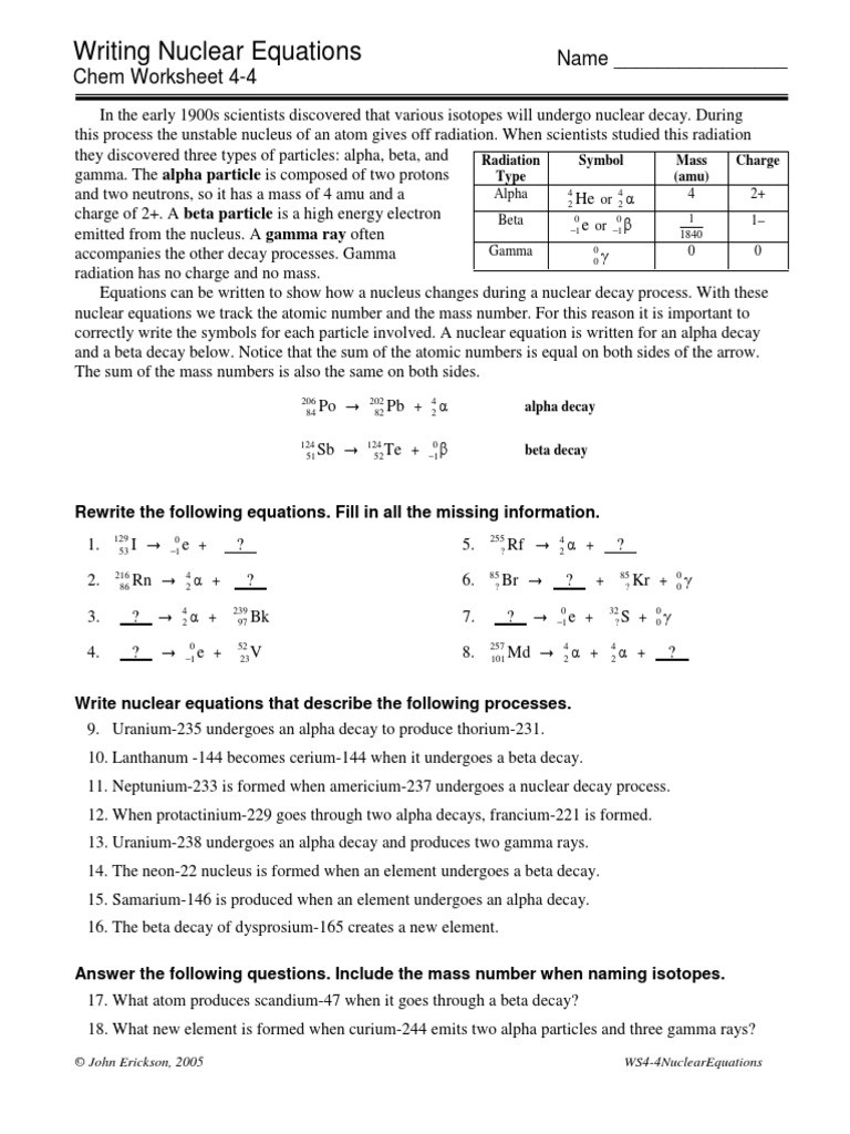 Nuclear Equations Worksheet Answers 4 4nuclearequations Pdf Radioactive Decay