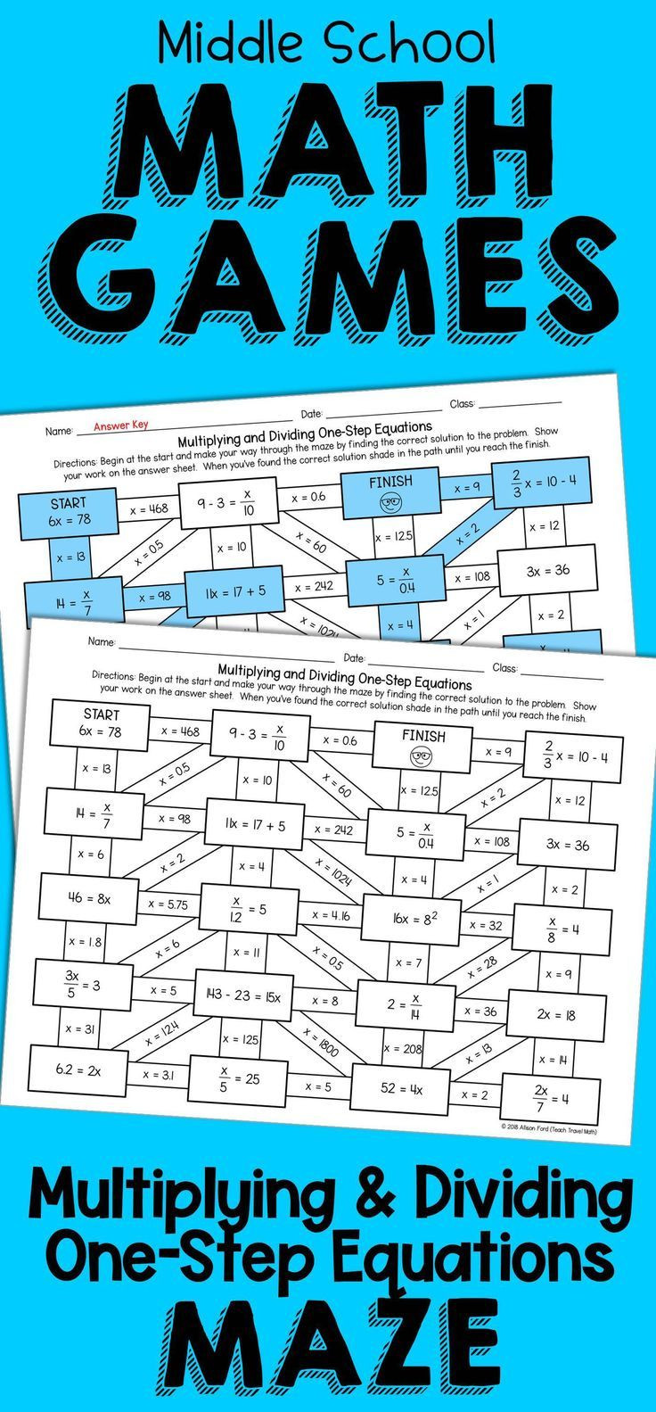 One Step Inequalities Worksheet E Step Equations Maze Multiplication and Division