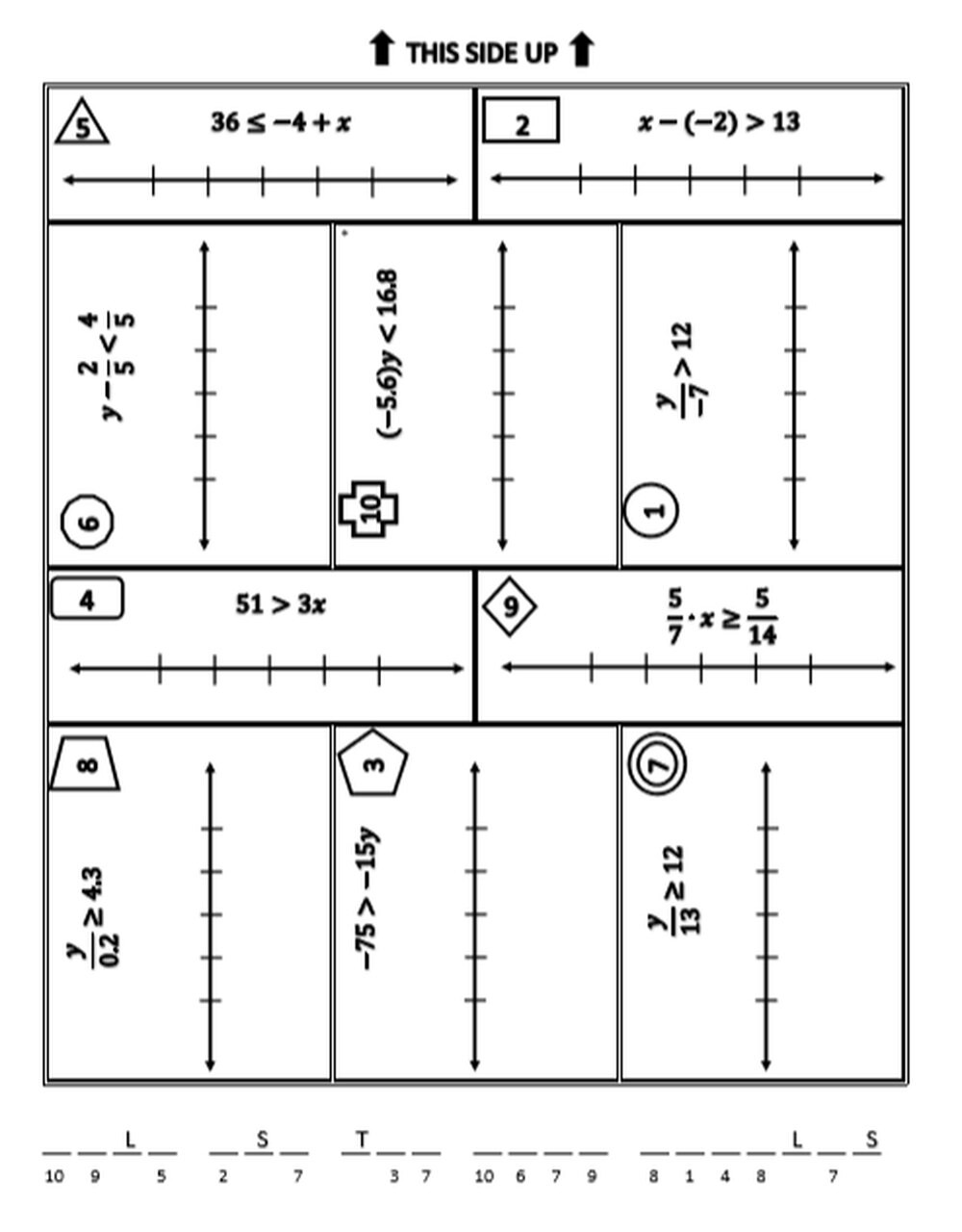 One Step Inequalities Worksheet E Step Inequalities Mini Breakout Activity solving and Graphing