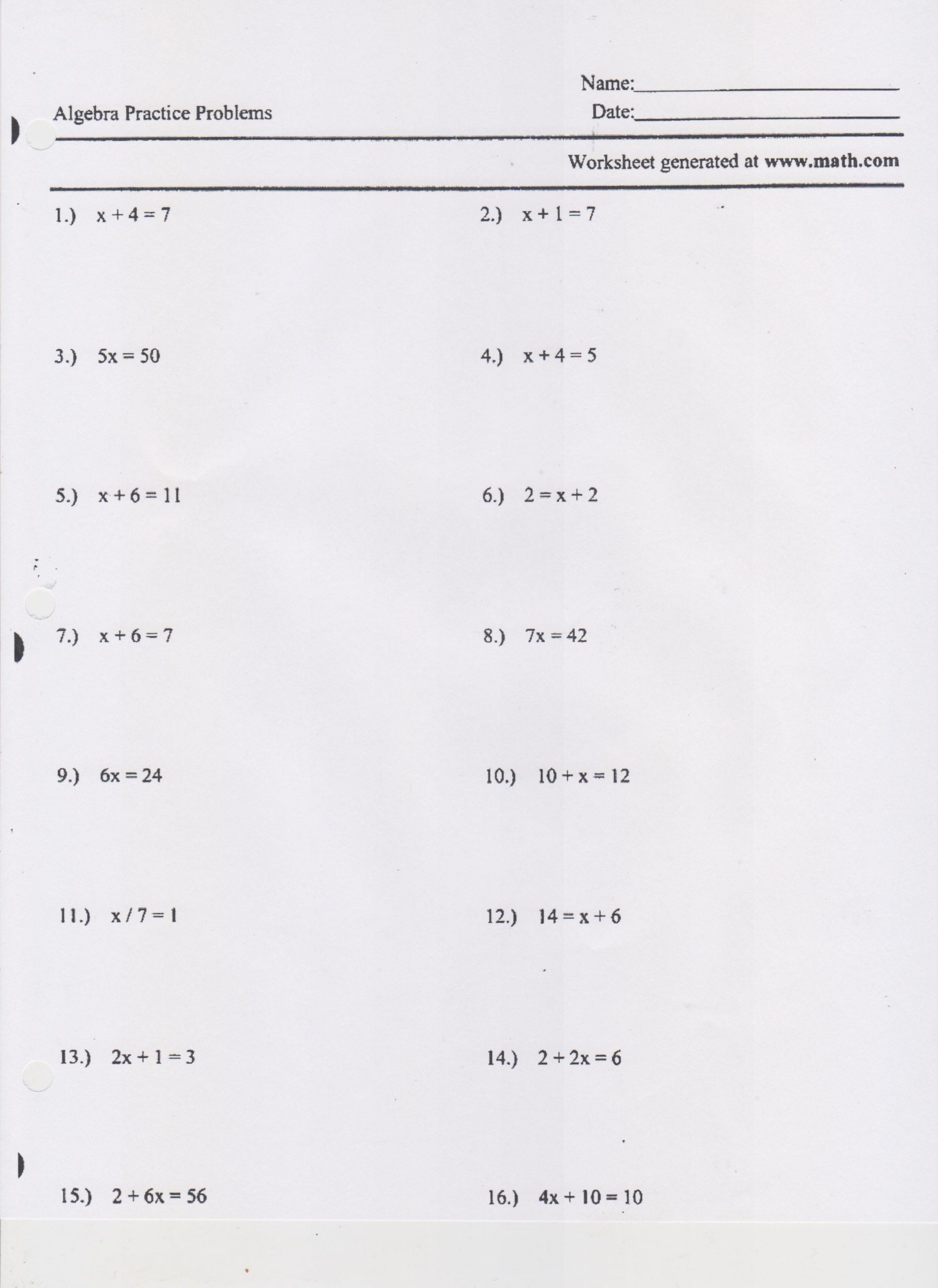 One Step Inequalities Worksheet Writing and solving E Step Equations Worksheet
