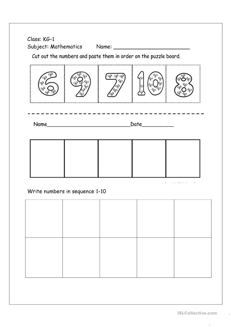 Ordering Real Numbers Worksheet Numbers Cut and Paste Activity Worksheet English Esl