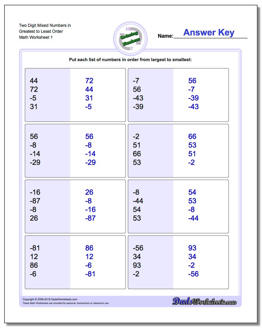 Ordering Real Numbers Worksheet ordering Numbers