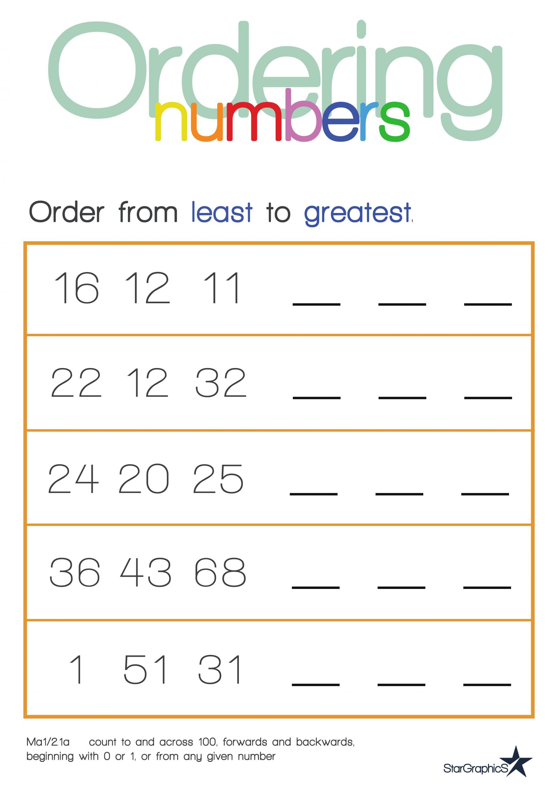 Ordering Real Numbers Worksheet ordering Numbers Worksheet Early Years