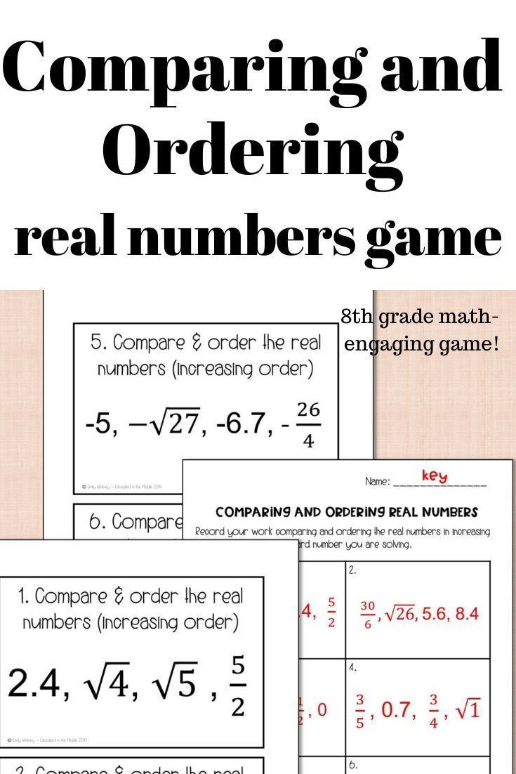 Ordering Real Numbers Worksheet Paring and ordering Real Numbers Game In 2020