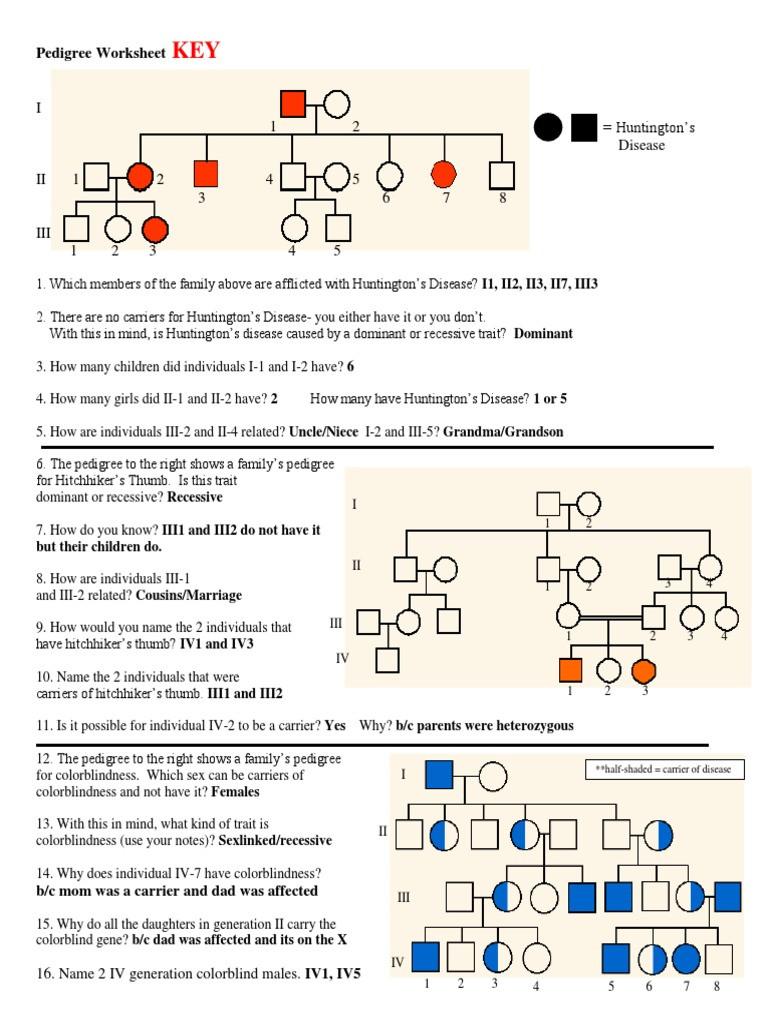 Pedigree Worksheet Answer Key Pedigree Worksheet Answer Key