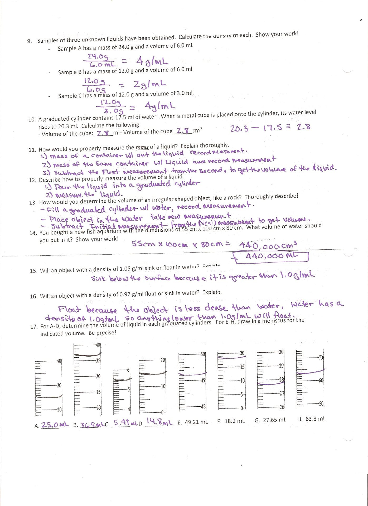 Percent Error Worksheet Answer Key Calculating Percent by Mass Volume Chem Worksheet 15 2