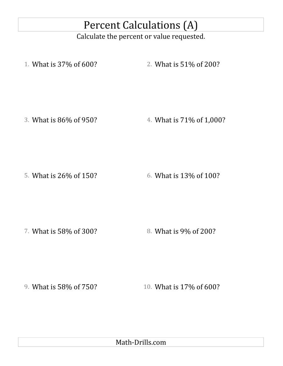 Percent Error Worksheet Answer Key Calculating the Percent Value Of whole Number Amounts and