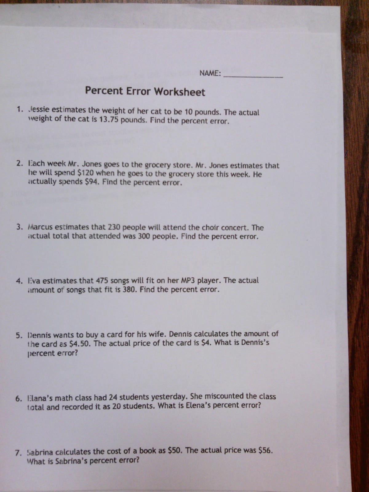 Percent Error Worksheet Answer Key Melanie Owens Drakes Creek Middle School