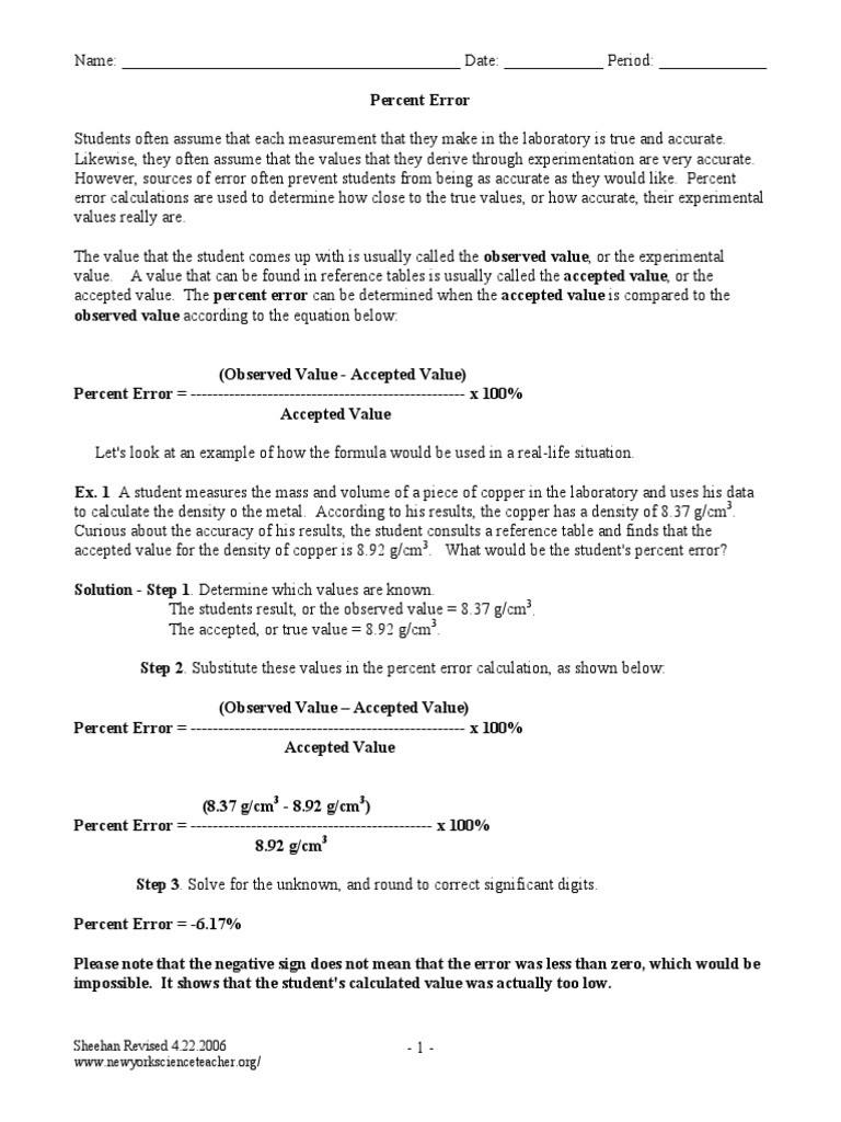 Percent Error Worksheet Answer Key Percent Deviation Worksheet Density
