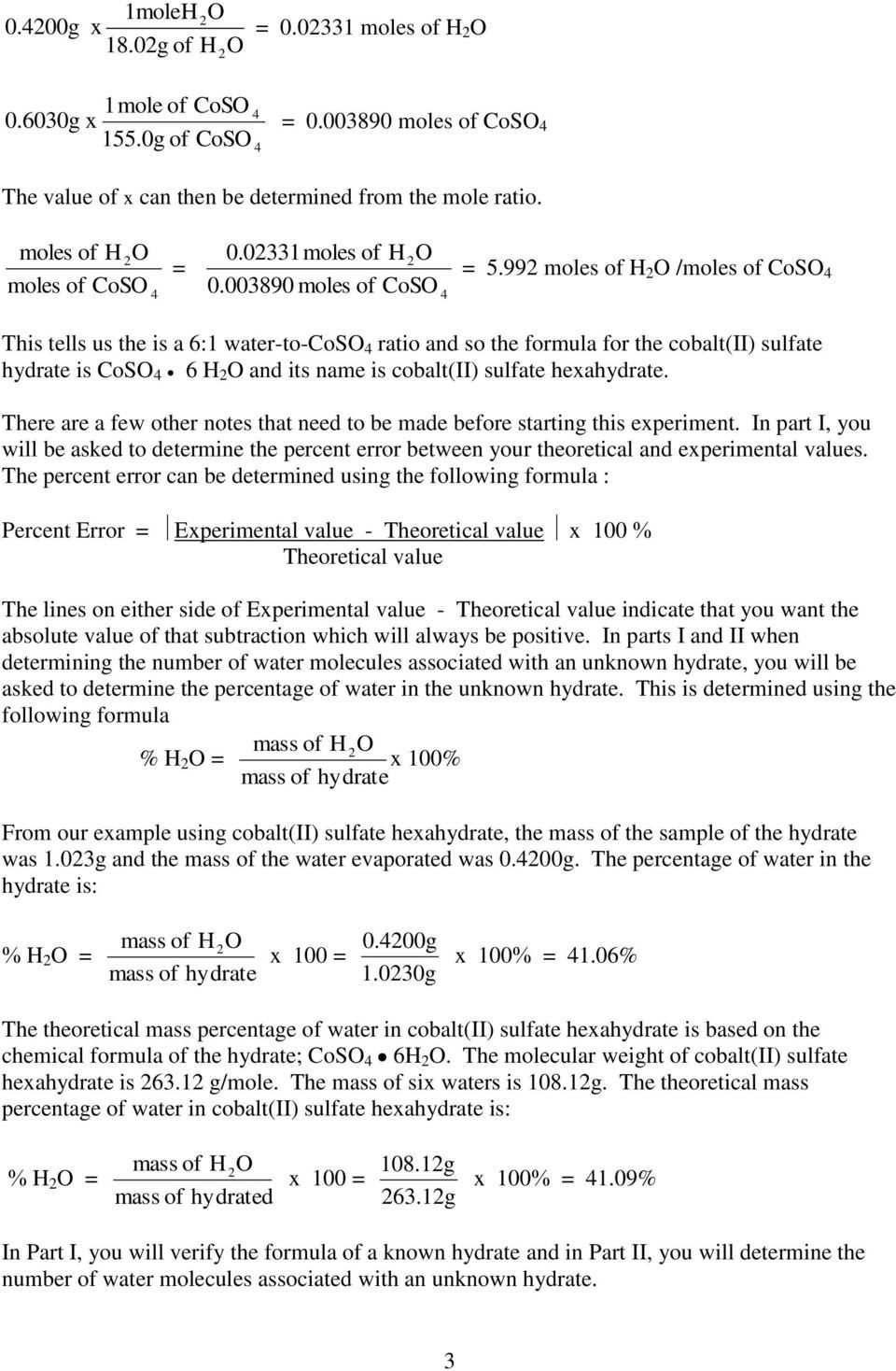 Percent Error Worksheet Answer Key Properties Of Hydrates Prelab 3 Give the Chemical formula