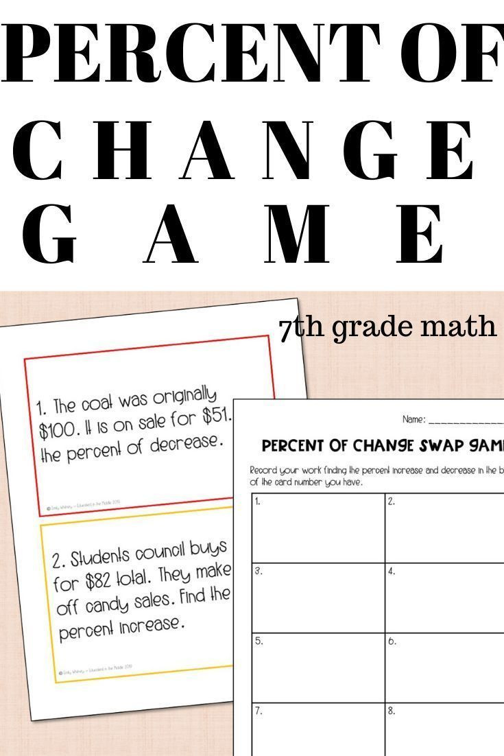 Percentage Increase and Decrease Worksheet Pin On 7th Grade Math Mon Core