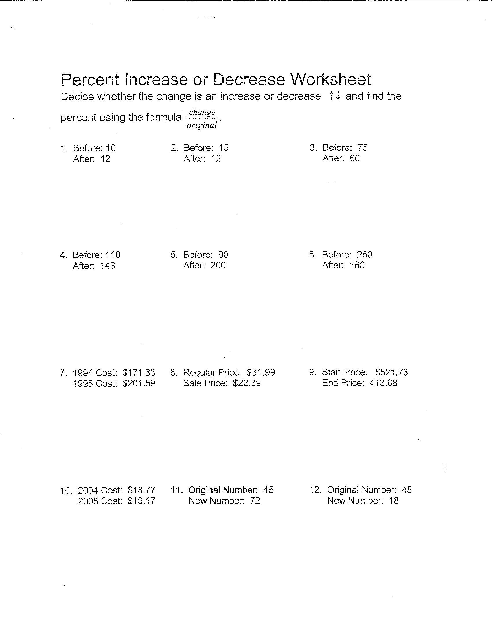 Percentage Increase and Decrease Worksheet Rate Change Problems Worksheet Answers 7th Grade